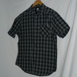 ECKO UNLTD Black & Gray Gingham SS Button-up Shirt